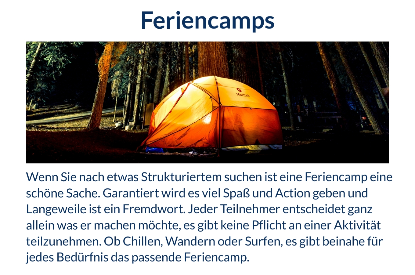 Jugendreisen Feriencamps